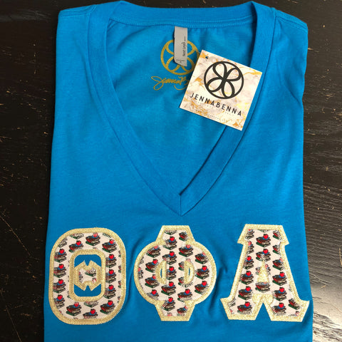 Turquoise Deep V-Neck With Teaching Fabric On Metallic Gold Twill - Sorority Apparel