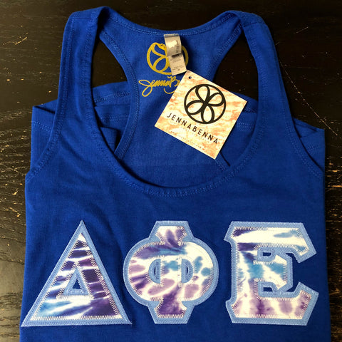 Royal Blue Ladies Tank Top With Tie Dye Purple Ice On Columbia Blue Twill - JennaBenna Sorority