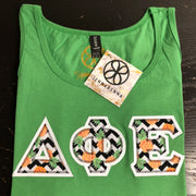 Green Apple Ladies Tank With Chevron Pineapple On White Twill - JennaBenna Sorority