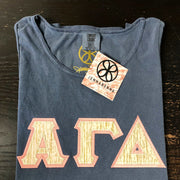 Denim Tank With Indie Metallic Tree Bark On Light Coral Twill - Sorority Apparel