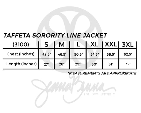 Fabric Greek Letter Taffeta Sorority Line Jacket - JennaBenna Sorority