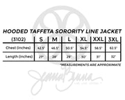 Fabric Greek Letter Hooded Taffeta Sorority Line Jacket - Sorority Apparel
