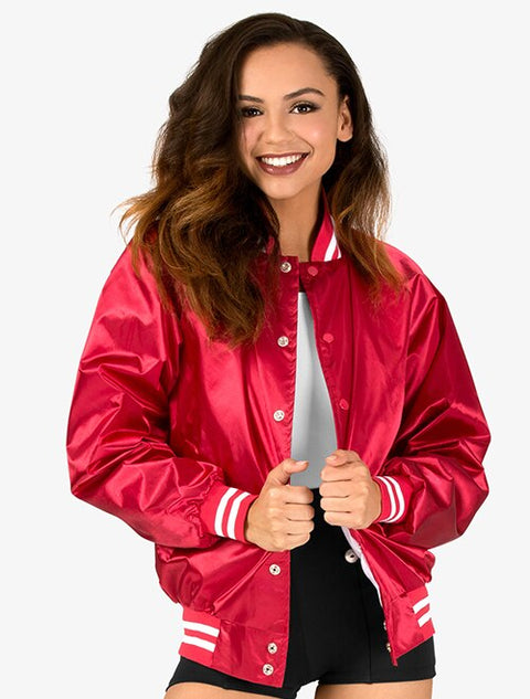 Embroidered Avery Satin Baseball Jacket with Striped Trim - JennaBenna Sorority