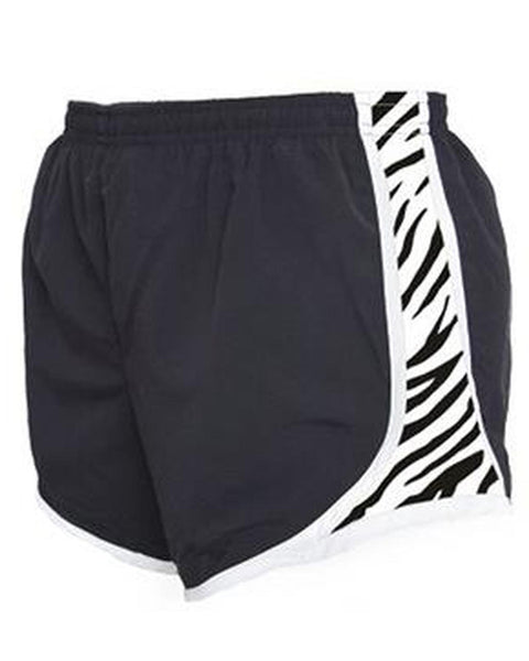 Black/Zebra Embroidered Velocity Running Shorts - JennaBenna Sorority