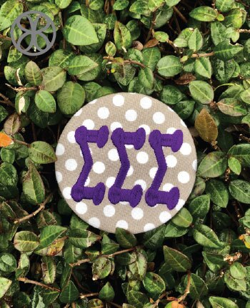 Large Embroidered Sorority Pin Back Button - Design 1 - JennaBenna Sorority