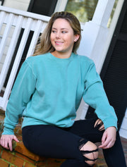 Chambray Sweatshirt With Floral Les Fleur Sage On Light Coral Twill - JennaBenna Sorority