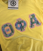 Lemon Crewneck With Exclusive Succulent Fabric On Lt Pink Twill - Sorority Apparel