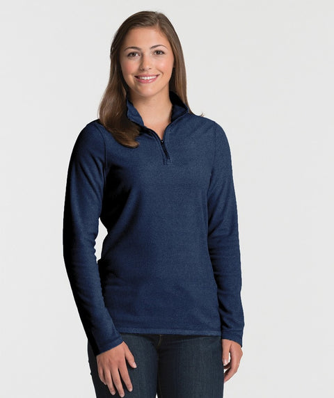 Blue Ink Women's Basin Fleece Quarter Zip Long Sleeve Shirt - Sorority Apparel