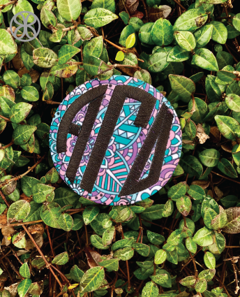 Large Embroidered Circle Greek Sorority Pin Back Button - Design 20 - Sorority Apparel