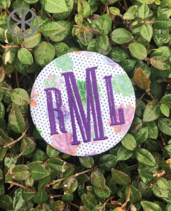 Large Embroidered Monogram Pin Back Button - Design 3 - Sorority Apparel