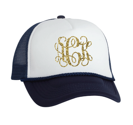 Glitter Monogrammed Foam Trucker Cap (6 Colors Available!) - JennaBenna Sorority