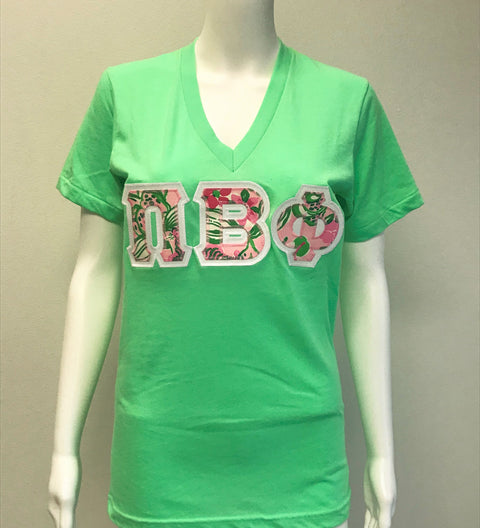 Pi Beta Phi Neon Green V Neck Sorority Letter Shirt - JennaBenna