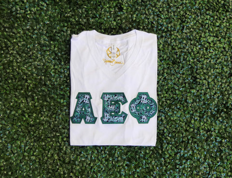 Alpha Epsilon Phi V Neck Sorority Letter Shirt - JennaBenna