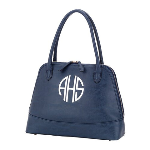 Navy Audrey Vegan Leather Embroidered Handbag - Sorority Apparel
