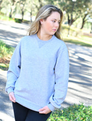Black Crewneck Sweatshirt With Floral Windsong On Metallic Blue Twill - JennaBenna Sorority