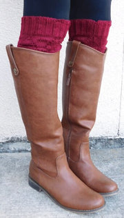 Burgundy Cheryl Leg Warmer Boot Cuff - JennaBenna Sorority