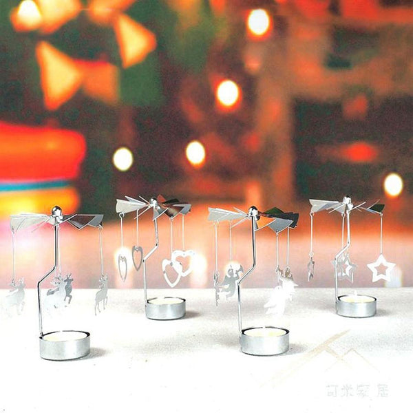 Rotating Metal Tealight Candle Holder Christmas Table Decor