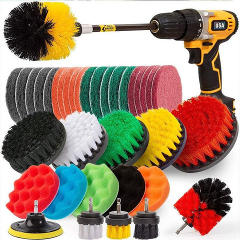 37 Pieces Cleaning Drill Attachments Set Sponges Brushes Cleaning Tools