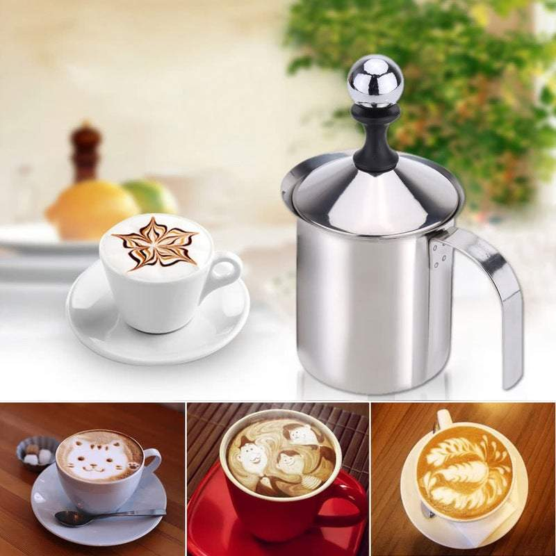 Coffee Grinders 400Ml Stainless Steel Milk Frother Double Mesh Foamer Diy Fancy White Coffee Creamer For Cappuccino Latte