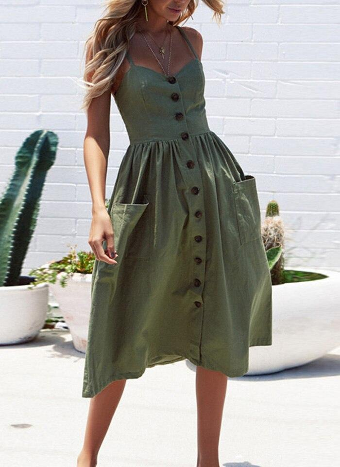Green Boho Cotton Casual Midi Sundress Women Summer Dress
