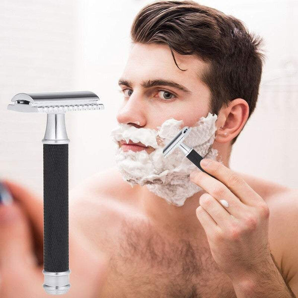 Razors Blades Double Edge Safety Razor Stainless Steel Manual Shaving Long Handle Traditional Black