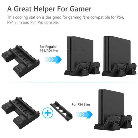 Televisions For Ps4 Pro / Slim Vertical Stand Controller Charging Dock Station + Cooling Fan