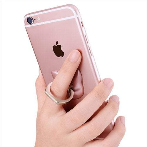 Sticker Stamp Activities Cartoon Cat Head 360 Degree Finger Ring Mobile Phone Smartphone Stand Holder- Rose Gold