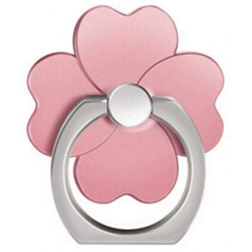Sticker Stamp Activities Clover 360 Degree Mobile Finger Ring Holder Phone Stand- Rose Gold