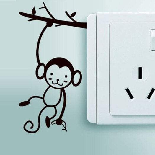Kid's Wall Stickers Monkey Sticker For Switch Decoration Vinyl Home Decal- Black