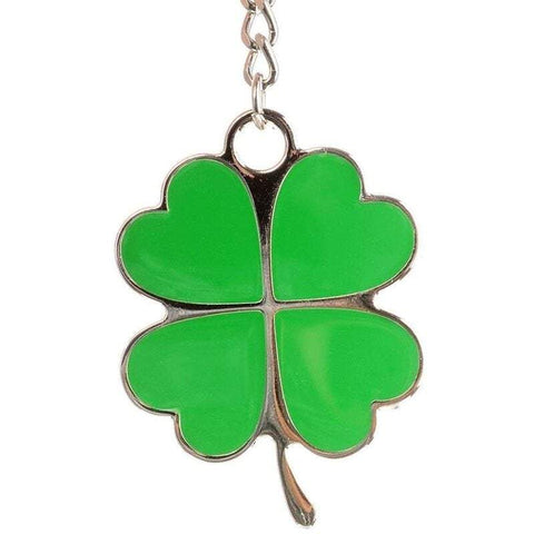 Novelty Key Rings Nologo Stainless Steel Lucky Four-Leaf Clover Keychain Creative Beautiful Green Chain Backpack Car Accessories