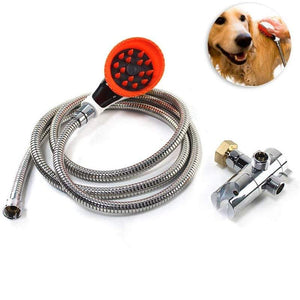 Cleaning Tools Pet Shower Sprayer Kit Faucet Sprayer Include Brush Head With Splash Shield Long Hose And Attachment For Dog Cat Washing Massage