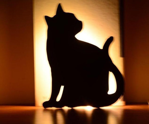 Cute Cat Wall Led Motion Sensor Lamp Smart Night Light