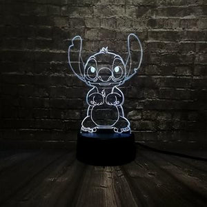 3D Lamp Lilo & Stitch Led Night Light 7 Colour Changing Lamp
