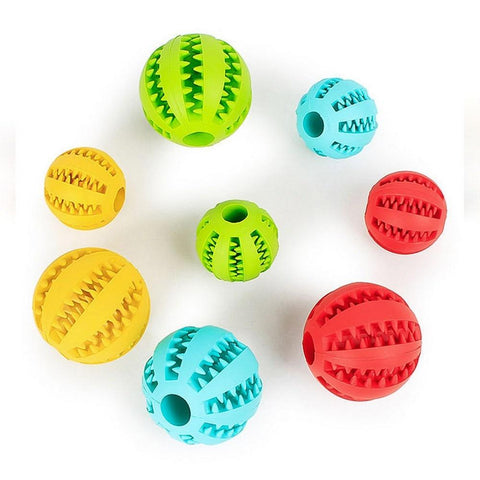 Dog Chew Rubber Ball Toy Dental Clean Teeth Healthy Treat Gum Bite Puppy Pet Play