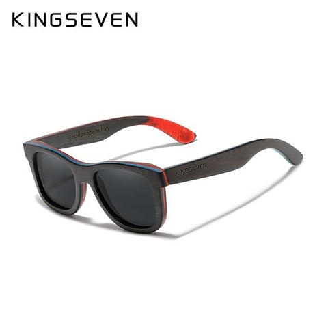 Kingseven Black Handmade Natural Wooden Sunglasses Polarized Gradient Lens