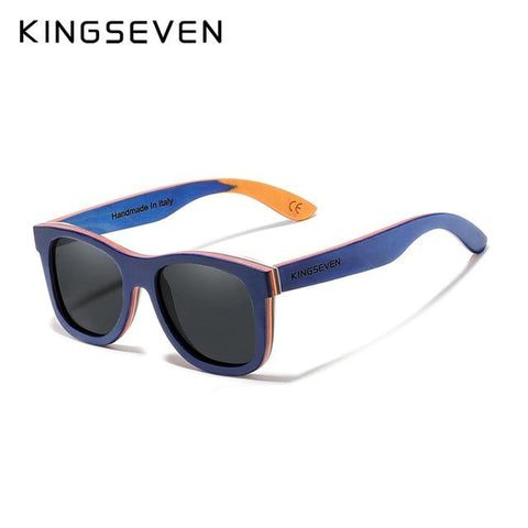 Kingseven Blue Handmade Natural Wooden Sunglasses Polarized Gradient Lens