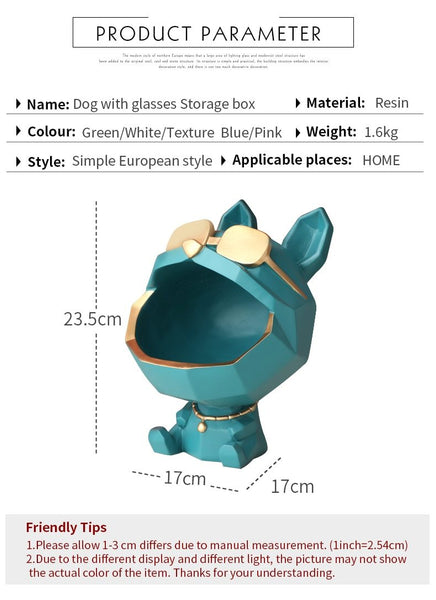 Cool Dog Key Holder Home Storage Resin Sculpture