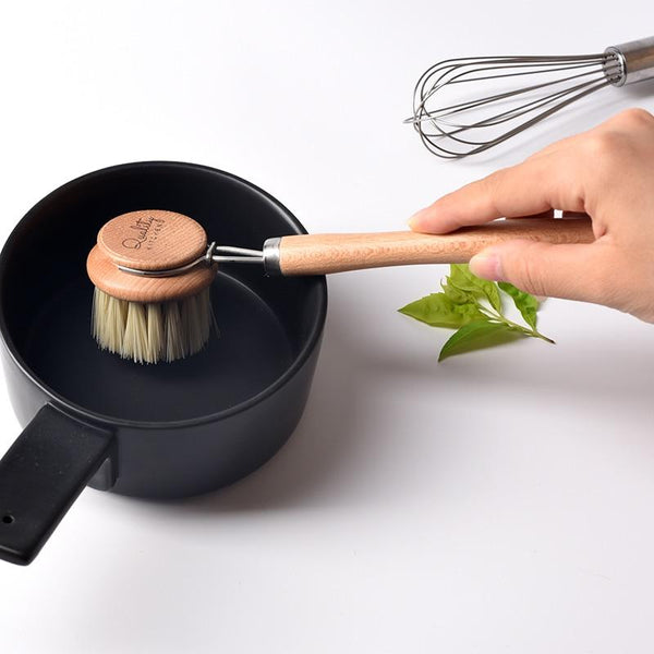 Natural Wood Dish Brush Kitchen Sink Accessories