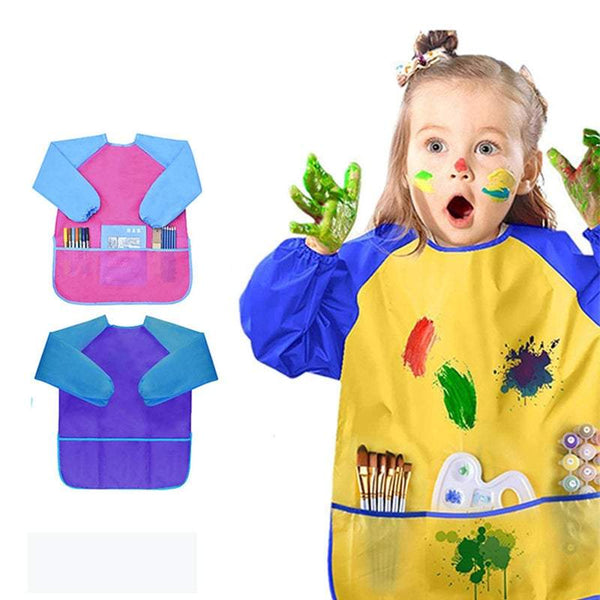 Long Sleeve Smock Children Waterproof Painting Apron With 3 Pockets