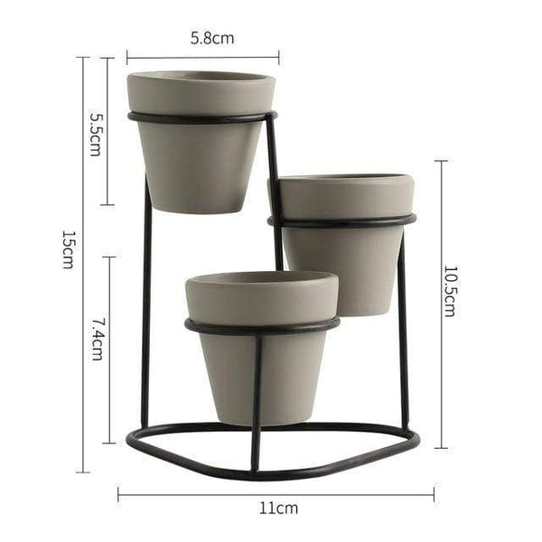 Mini Trio Plant Stand Nordic Flower Succulent Pot With Metal Stand Home Decor