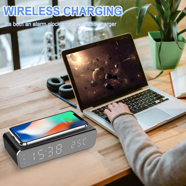 Led Display Wireless Charger Desk Bedside Table Alarm Clock