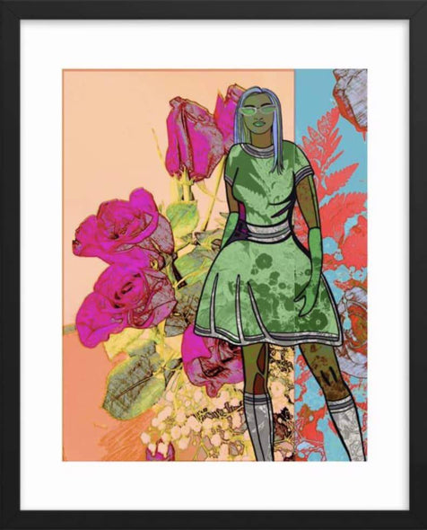 Framed Flower Power Girl Open Edition