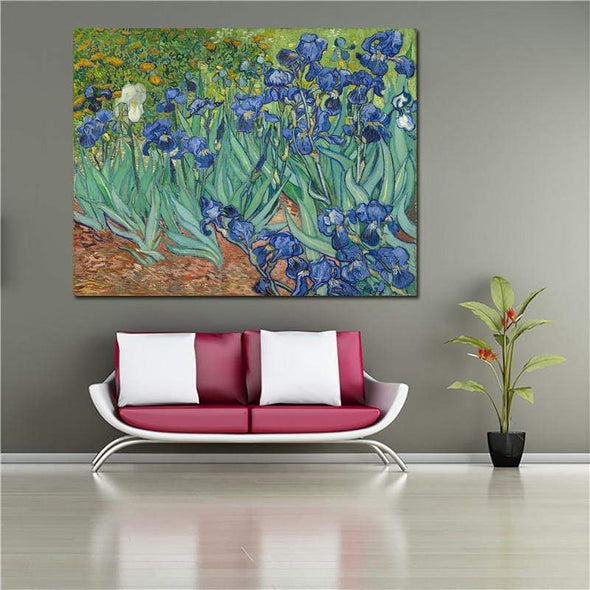 Van Gogh Irises Unframed Large Printed Picture Wall Art Impressionist Art 1889 Reproductions Of Famous Paintings On Canvas