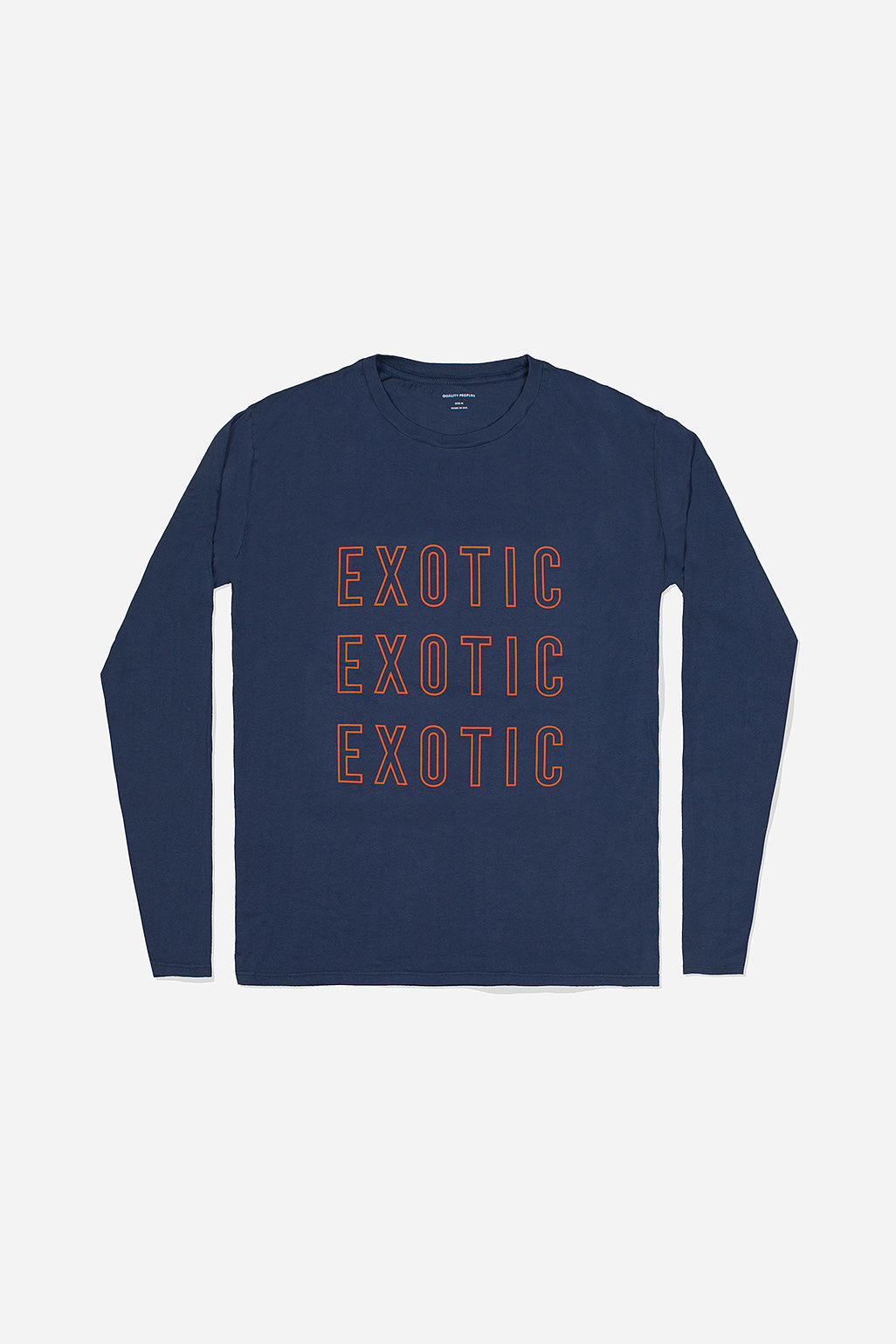Quality Peoples Unisex Long Sleeve Crew T-Shirt Exotic Navy Photo