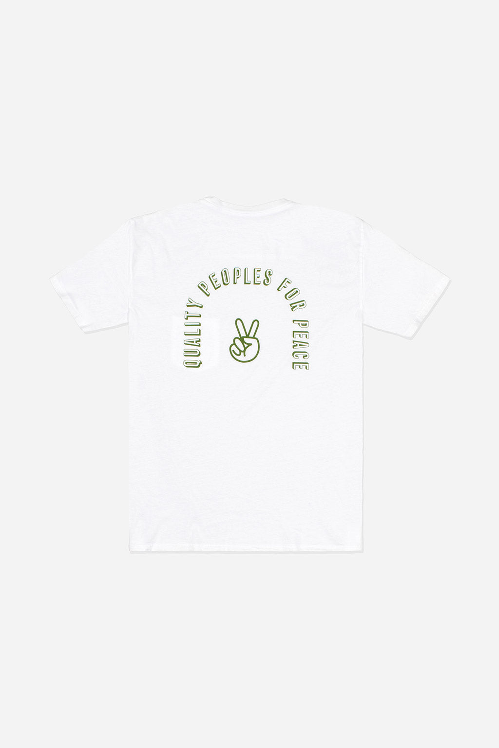Quality Peoples Unisex Pocket T-Shirt QP For Peace White Back