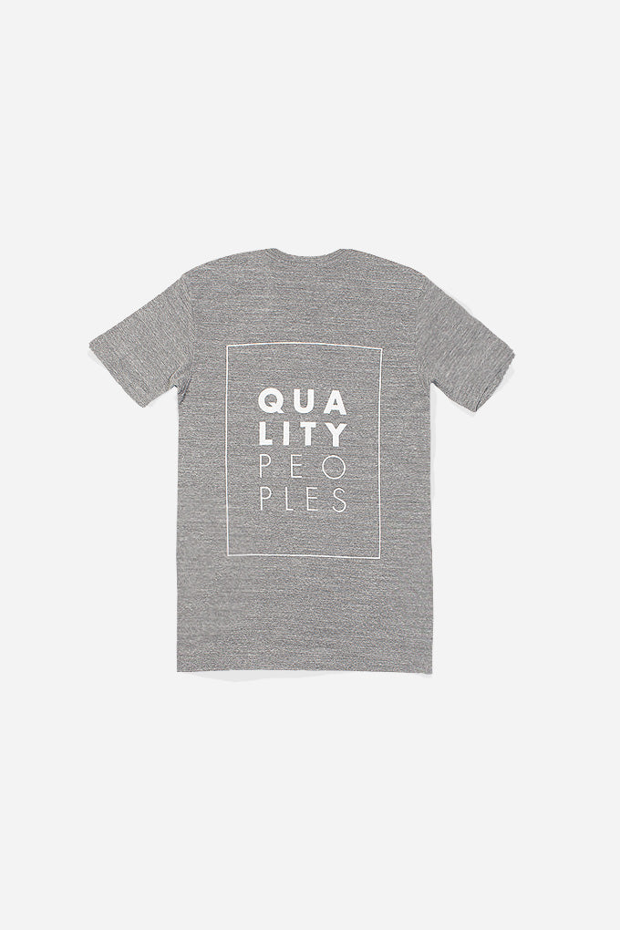 Quality Peoples Unisex Graphic Crew T-Shirt QP Logo Heather Back