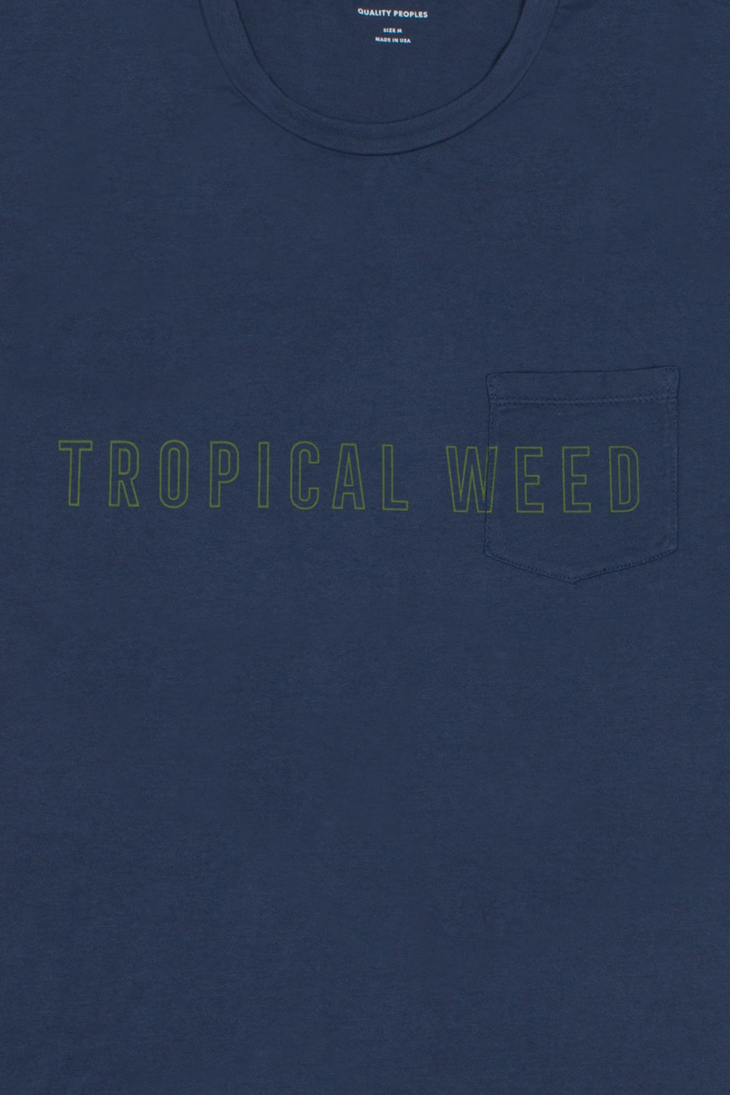 Quality Peoples Unisex Pocket T-Shirt Tropical Weed Dark Navy Front Detail