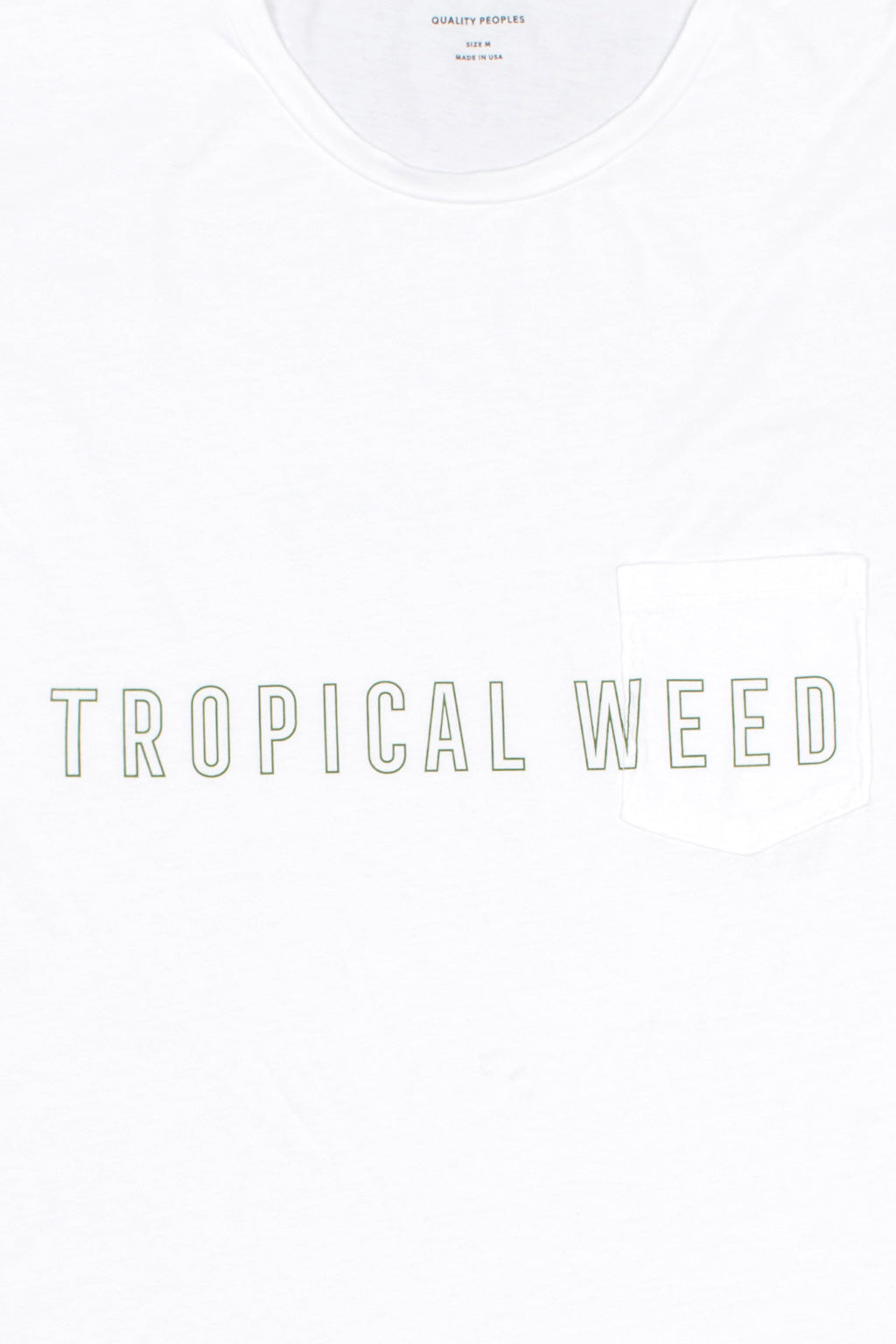 Quality Peoples Unisex Pocket T-Shirt Tropical Weed White Front Detail