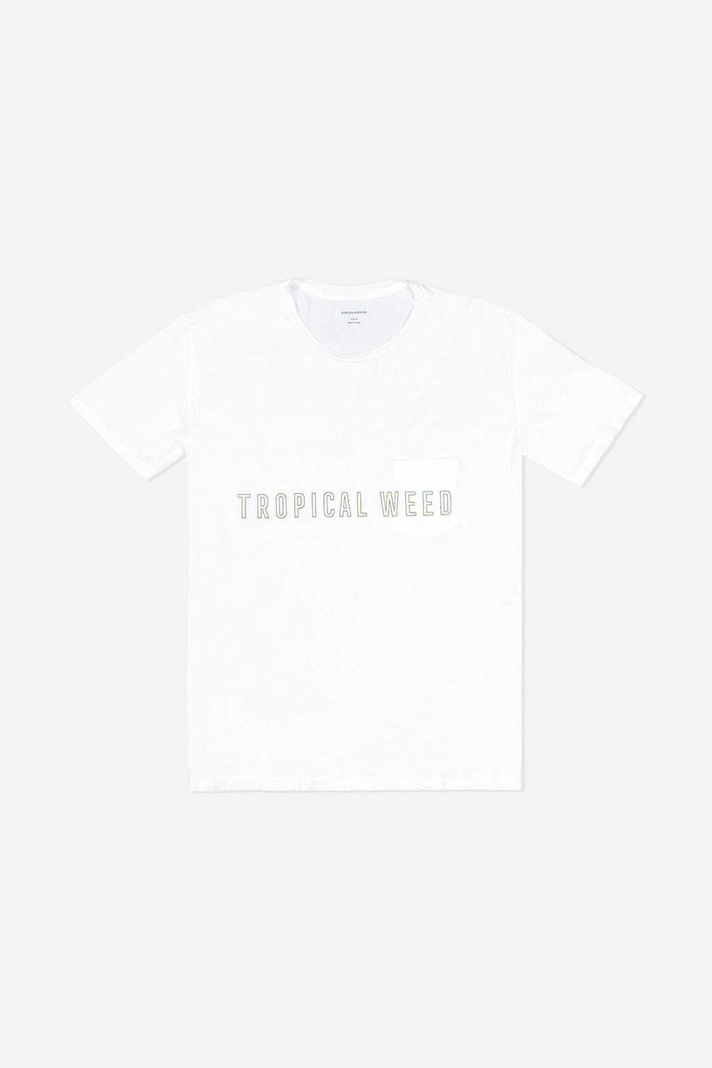 Quality Peoples Unisex Pocket T-Shirt Tropical Weed White Front