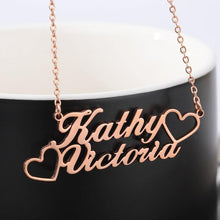 Load image into Gallery viewer, Personalized Couple Love Heart Name Necklace